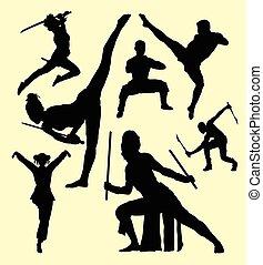 arte marcial, varón y hembra, acción, silueta