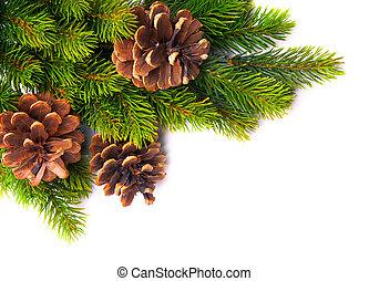 arte, marco, árbol, navidad