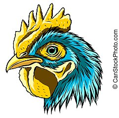 arte, mascota, gallo, vector, cabeza, ilustración