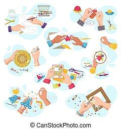 arte, mestiere, handycrafts, vista, bianco, artistico, illustrazioni, cima, creare, isolato, mani, vettore, officina, creativo, set., hobby