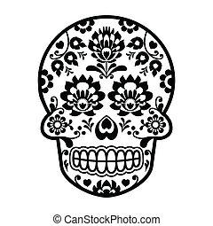 arte, mexicano, cráneo, azúcar, polaco, gente