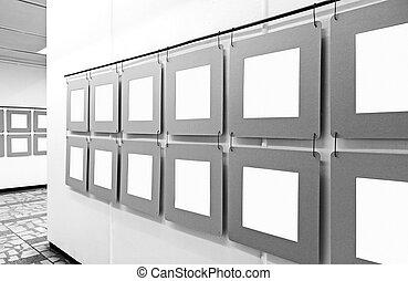 arte, mockup, vuoto, pareti, carta, appendere, manifesti, galleria