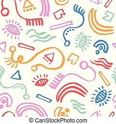 arte moderna, coloridos, doodle, abstratos, shapes., pattern., seamless, superfície, vetorial, padrão experiência, trendy, ingênuo, design.