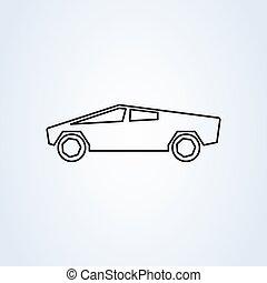 arte moderna, vetorial, desenho, carro., linha, illustration., ícone, simples, elétrico