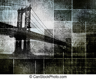 arte moderno, inspirado, puente de la ciudad de nueva york