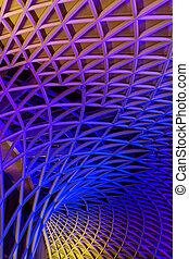 arte, moderno, metallo, costruzione, di, il, stazione treno,...