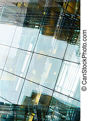 arte, moderno, vidrio, empresa / negocio, edificio, por la noche