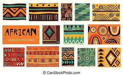 arte, modernos, patterns., seamless, cobrança, vetorial, africano