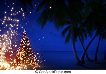 arte, natale, in, hawai, con, palmizi, e, stelle