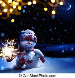 arte, natale, notte, -, fondo, con, pupazzo di neve, in, il, neve