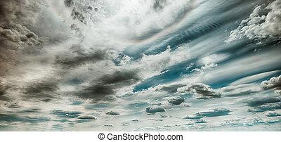 arte, nuvens, amanhecer, fundo, céu