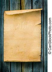 arte, ocidental, estilo, sinal, antigas, papel, e, madeira