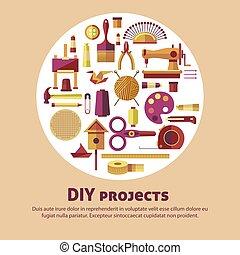 arte, officina, mestiere, fatto mano, creativo, vettore, bricolage, manifesto, artigianato, classi, o, progetti, capretto