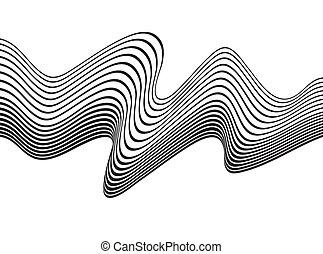 arte, onda, óptico, desenho, fundo, pretas, branca