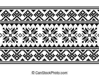 arte, -, ornamento, seamless, monocromo, punto de cruz, inpired, retro, gente, belarusian, ucranio, patrón, vector, largo, vyshyvanka