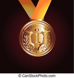 arte, ouro, vetorial, vermelho, medalha, fita