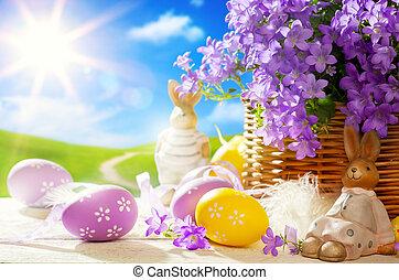 arte, ovos, bunny easter