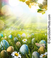 arte, ovos, decorado, capim, páscoa, margaridas