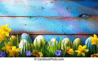 arte, páscoa, fundo, com, ovos páscoa, e, flores mola, ligado, grama verde