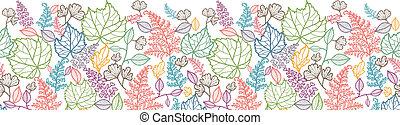 arte, padrão, folhas, seamless, fundo, horizontais, borda, linha