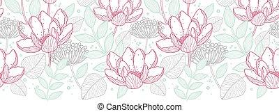 arte, padrão, modernos, seamless, florals, vetorial, fundo, linha, borda, horizontais