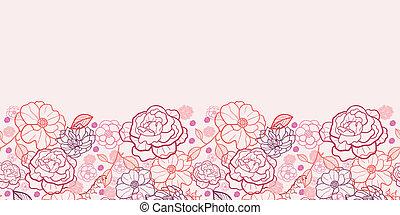 arte, padrão, seamless, fundo, linha, flores, borda, horizontais