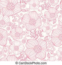 arte, padrão, seamless, fundo, linha, flores, vermelho