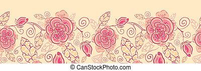 arte, padrão, seamless, rosas, fundo, linha, borda, horizontais