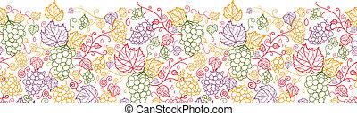 arte, padrão, seamless, videiras, fundo, uva, linha, horizontais