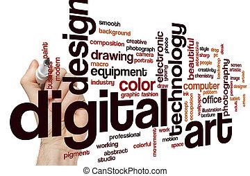 arte, palabra, nube, digital