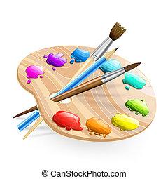 arte, paleta, wirh, escovas, e, tintas