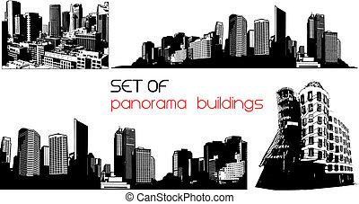 arte, panorama, vector, negro, blanco, cities.