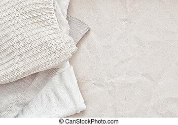 arte, papel, tricotando, roupas