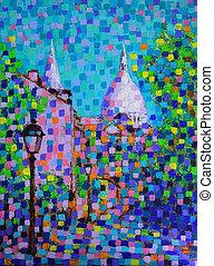 arte, parís, francia, calle, pintura, montmartre