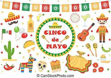 arte, parata, clip, disegnare elemento, icone, set, flag., pinata, cactus, appartamento, tequila, mayo, de, cibo, cinco, oggetti, celebrazione, illustrazione, messico, vettore, style.collection, sambrero