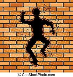 arte, parete, pop, vettore, umano, silhouette, buco, mattone