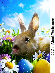 arte, pascua, bebé conejo, y, huevos de pascua