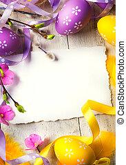 arte, pascua, tarjeta de felicitación, con, huevos de pascua
