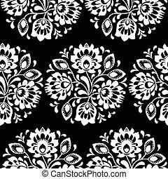 arte, patrón, seamless, tradicional, floral, polaco, gente