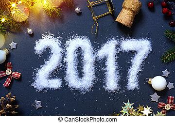 arte, patry, años, eve;, plano de fondo, nuevo, 2017, feliz