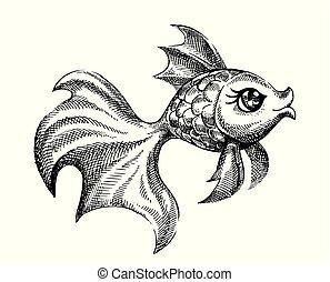 arte, peixe ouro, linha, ilustração