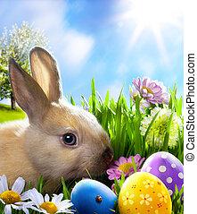 arte, pequeno, bunny easter, e, ovos páscoa, ligado, grama verde