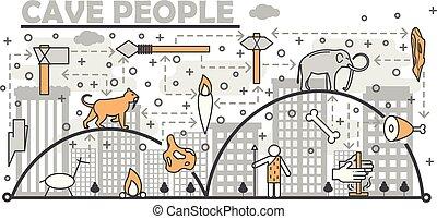 arte, persone, manifesto, caverna, vettore, linea sottile, bandiera