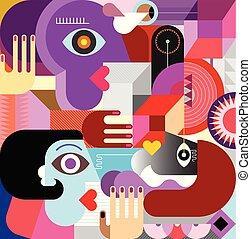 arte, pessoas, abstratos, três, ilustração, vetorial