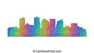 arte, phoenix, -, skyline, multicolor, silueta, linha