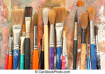 arte, pintar escovas, &, paleta
