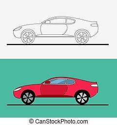 arte plana, racing., car, ilustração, experiência., arrastar, vetorial, logotipo, branca, desporto, linha