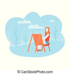 arte plana, terapia, em, a, park., artista, desenho, ligado, abertos, ar., menina, quadro, outdoor.