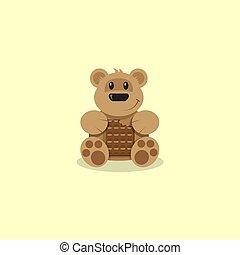 arte plana, urso teddy, chocolate, ilustração, caricatura