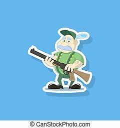 arte plana, vector, ilustración, de, un, lindo, caricatura, cazador, con, un, arma de fuego
